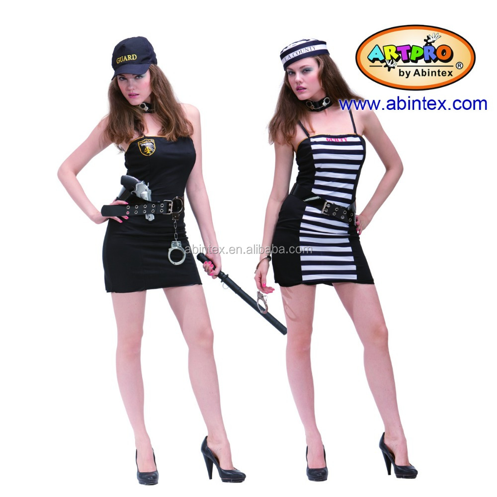 2-in-1 party costume (09-328) as sexy lady costume, Police & Prisoner