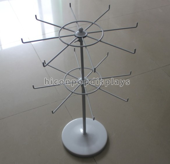 Custom Counter Top 2-Layer 8 Wire Spinner Hooks Pop Metal Battery 360 Rotating Display Stands Uk
