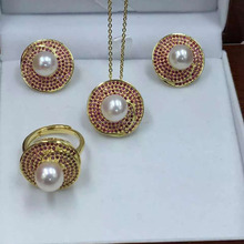 2016 latest design pearl set, 925 silver fittings
