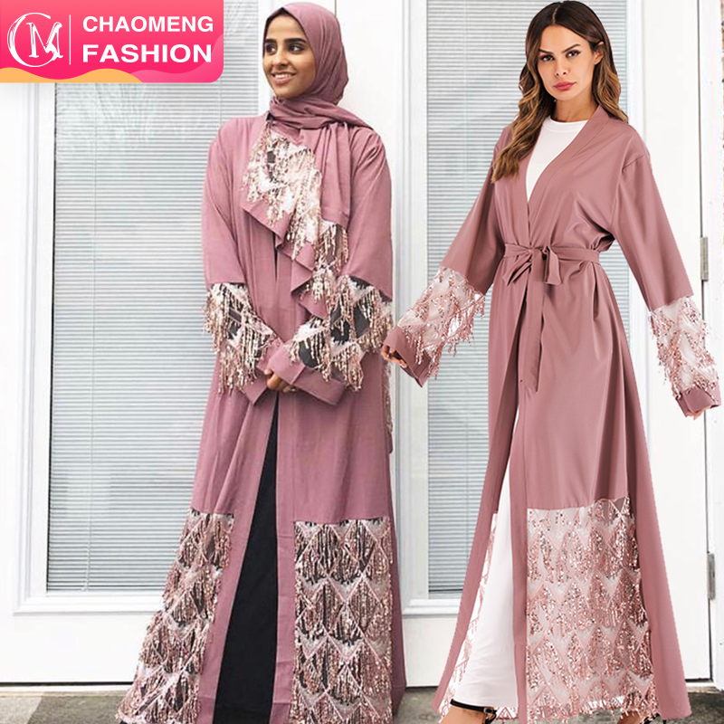 1662# Fashion Muslim Abaya in Dubai Nida with Sequin Islamic Clothing For Women Jilbab Djellaba Robe Musulmane Turkish Baju