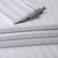 100% mercerized bleached calico stripe satin fabric for bed sheet in roll