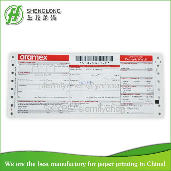Aramex Barcode Waybills Printing Consignment Notes Printing