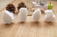 set of four 3D fruit shape cookie mould calyx cutter