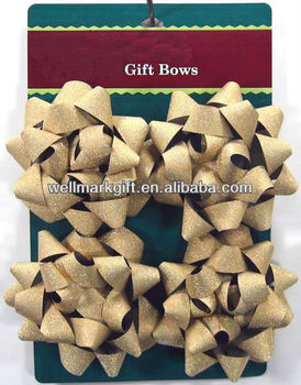 Gold Glitter PP Ribbon Christmas Ribbon Star Bow