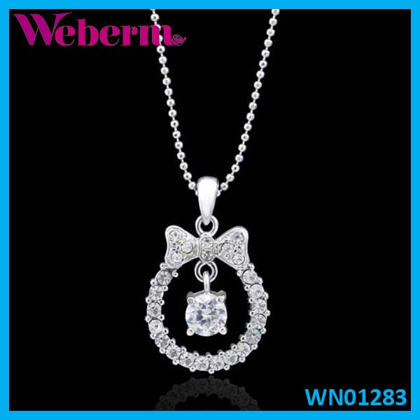 Cheap antique bowknot halo pendant silver cubic zirconia necklace jewlery