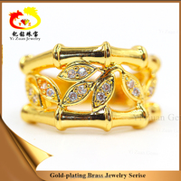 China wholesale jewelry best quantity low price unique beautiful gold plating brass big finger leaf shaped ring for women