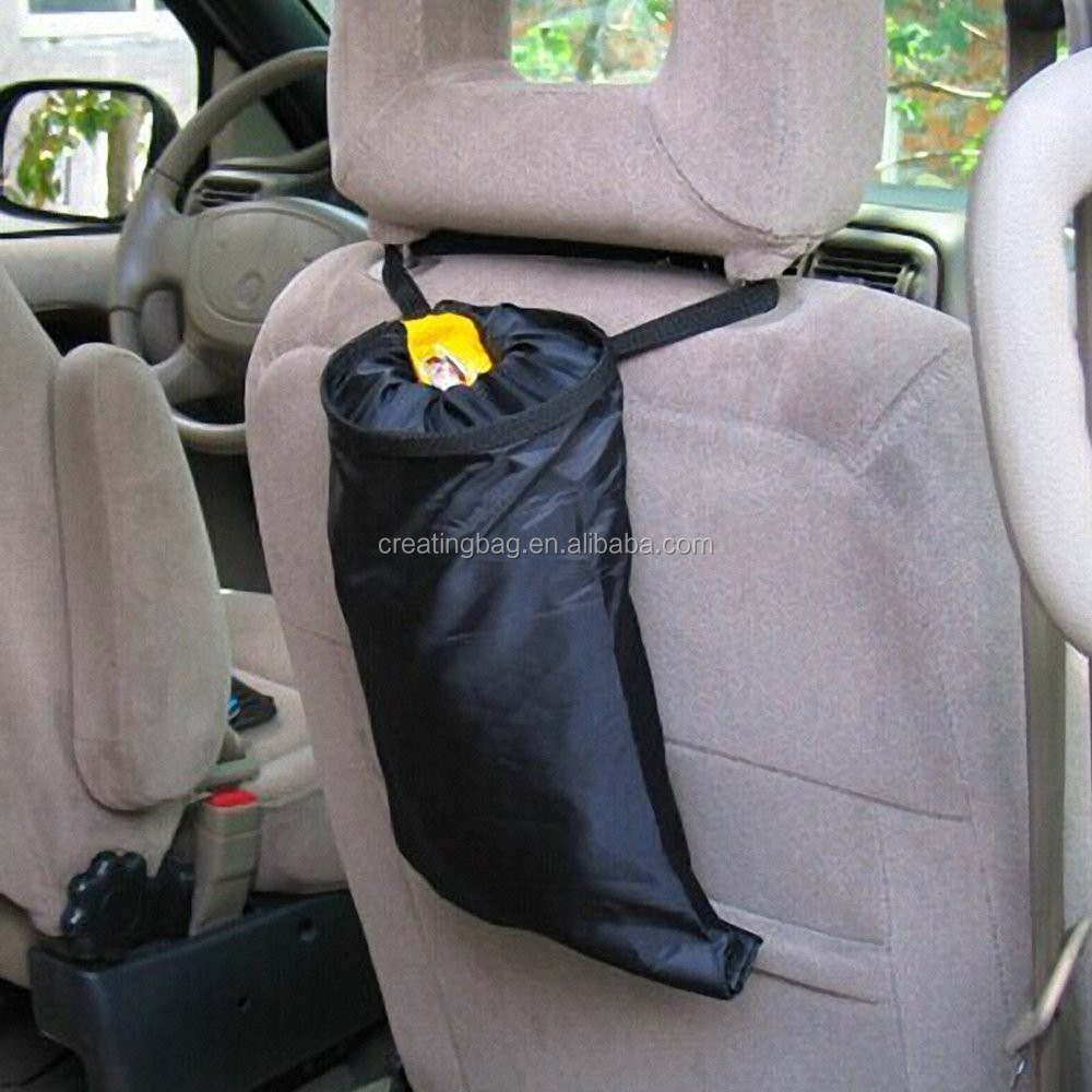 Car Vehicle Back Seat Headrest Litter Trash Garbage Bag (Black)