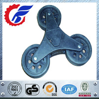 4 inch solid rubber wheels for climbing stairs trolley stair climbing solid wheel with metal bracket and three wheels