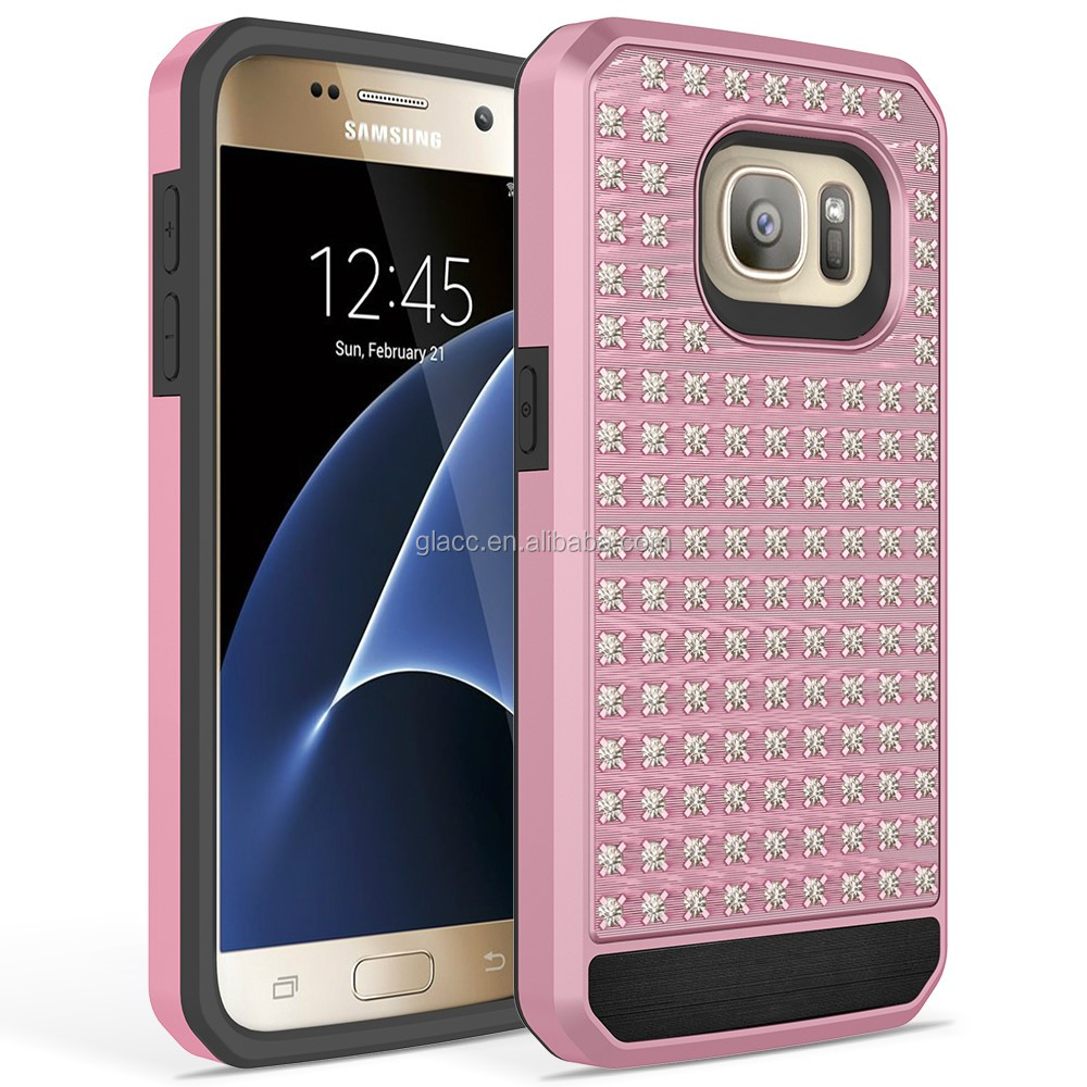 Cellphone Cases Durable Hot Luxury Diamond Flashing Cell Phone Cases Hard Covers for Samsung S7