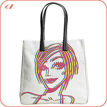 Free sample promotional eco women tote bag, standard size canvas tote bag bulk custom printed canvas tote bag