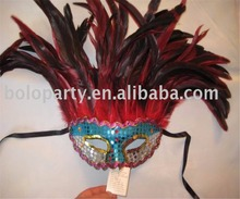 2017 New decoration long feather mask for Carnival