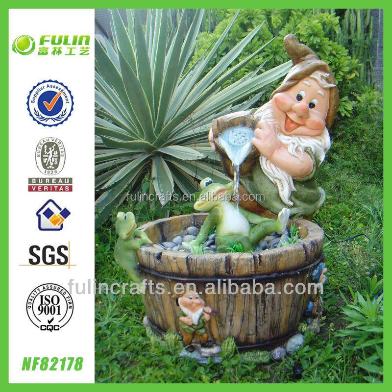 Grande polyresin al aire libre gnomo fuentes de agua for Decoracion jardin gnomos