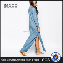 Button closed design maxi denim dresses long sleeve casual dress MGOO wholesale sexy women denim dresses