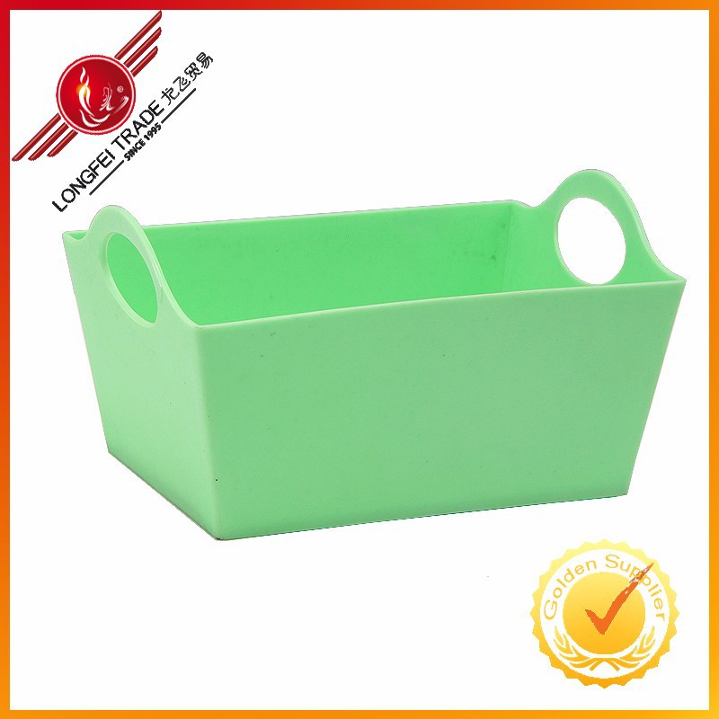 Plastic Square Shape Green Color Storage Boxes With Double Handles