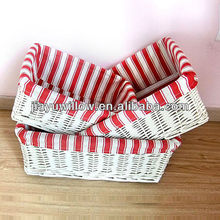 Multifunctional white willow storage basket with handmade fabric