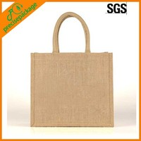 customized printed jute carry bag with cotton handles