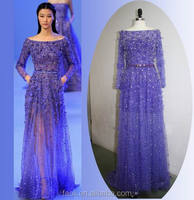 Real Sample Sheath See Through Tulle Beaded Long Sleeve Elie Saab Evening Dresses For Sale