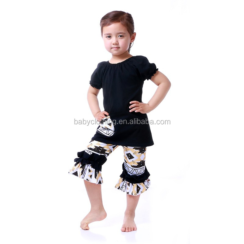 Howell short sleeve plain t-shirt floral capris set kids trendy clothing