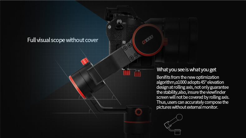 New Arrival FeiyuTech DSLR 3-axis Gimbal A1000 Handle for Micro-SLR A6500 A6300 GoPr o Her o 5 Payload 150-1000g