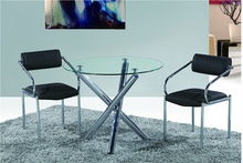 wholesale cheap china 10mm round glass dining table and 6 chairs
