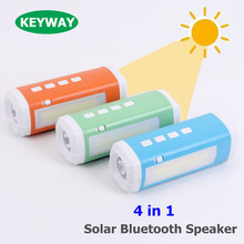 Portable Solar 4 in 1 Energy Flashlight Riding Subwoofer Card MP3 Player Mini Solar Bluetooth Speaker With LED Lamp & Flashlight