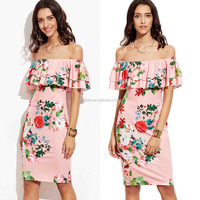 Porn Dresses Sexy Mini Tight Elegant Women's Floral Ruffle Off Shoulder Party Sexy Bodycon Dress Sexy Girls in Tight Dresses