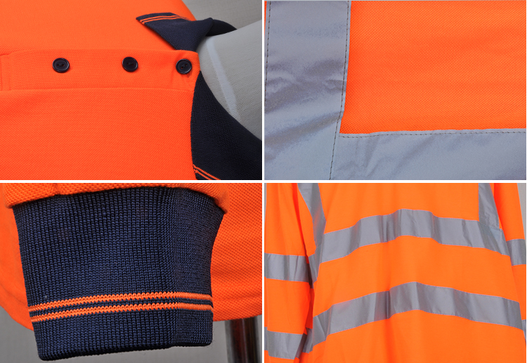 LX706 190/155gsm 100% Cotton Drill Two Tone High Visibility Work Reflective Wholesale safety shirt