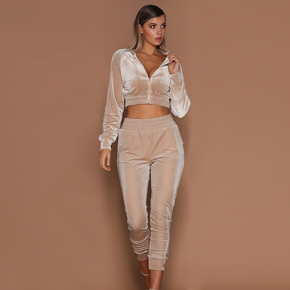Ladies Clothing Hoodie Costume wholesale soft fabric women sexy jogging sports tracksuit zipper crop long sleeve slim yoga suits