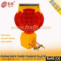 factory price solar road hazard warning light with 24pcs led lights and metal plate ; solar and 4R25 dry cell are available warn