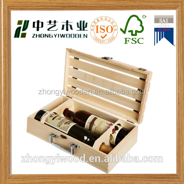 china factory FSC OEM wooden 2 pack beer wine whiskey glass bottle storage box tote carrier