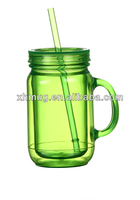 16 OZ double wall plastic tumbler with handle