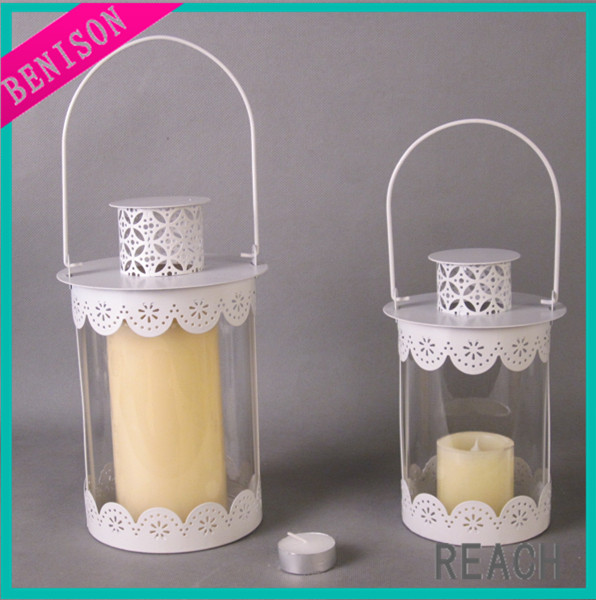 Christmas high quality metal hanging differnt color with glass jar hollow candle lantern