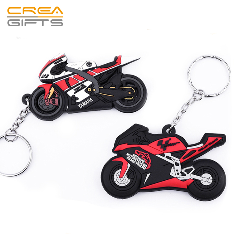 Custom 3d soft pvc key chain custom rubber motorcycle keychains