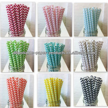 CHEVRON ZIG ZAG STRIPED PAPER STRAWS VINTAGE RETRO WEDDING PARTY BIRTHDAY