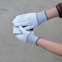 White PU Top /Palm Coated labor protective gloves
