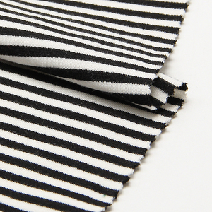 ZD1L013 RIB dyed yarn Linen knitted fabric lycra spandex fabric striped for ladies dress sports t shirt pajamas cloth