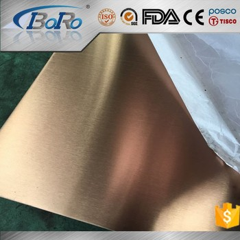 304/201 metal sheet golden hairline/mirror finish color stainless steel for elevator