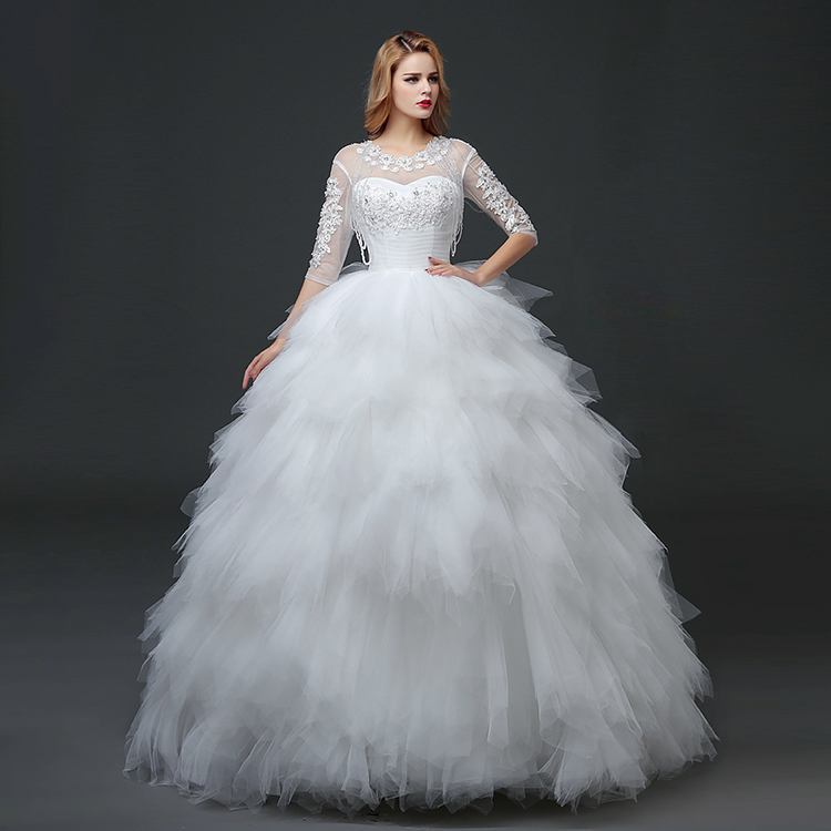Wholesale Elegant Beading Half Sleeve White Bubble Lace Beauty Sexy Bridal Gown Wedding Dress