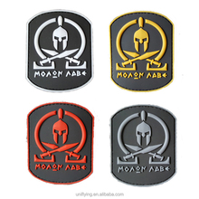 High Quality Skull Custom PVC Patches Hook And Loop Backing 3D PVC Patch