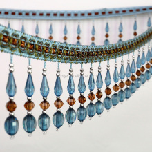 high quality blue beaded tassel fringe /trim for dancewear dresses