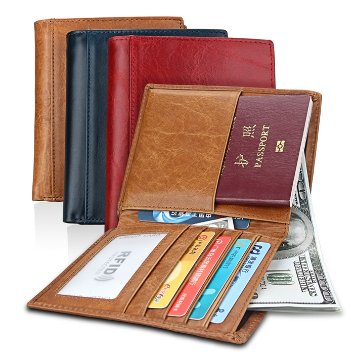 RFID signal blocking leather credit card money passport wallet for men