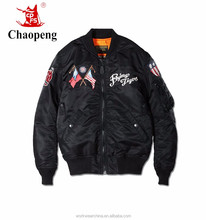2017 Hot Selling Black men bomber jacket with embroidered