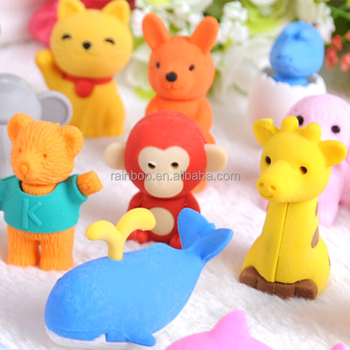 Hot selling custom shape cute promotional novelty animal eraser for kids