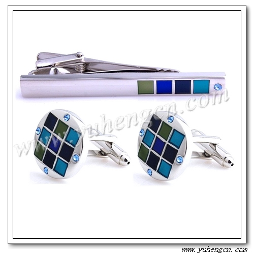 Rhinestone Cufflink and Tie Clip Sets,Enamel Tie Bar