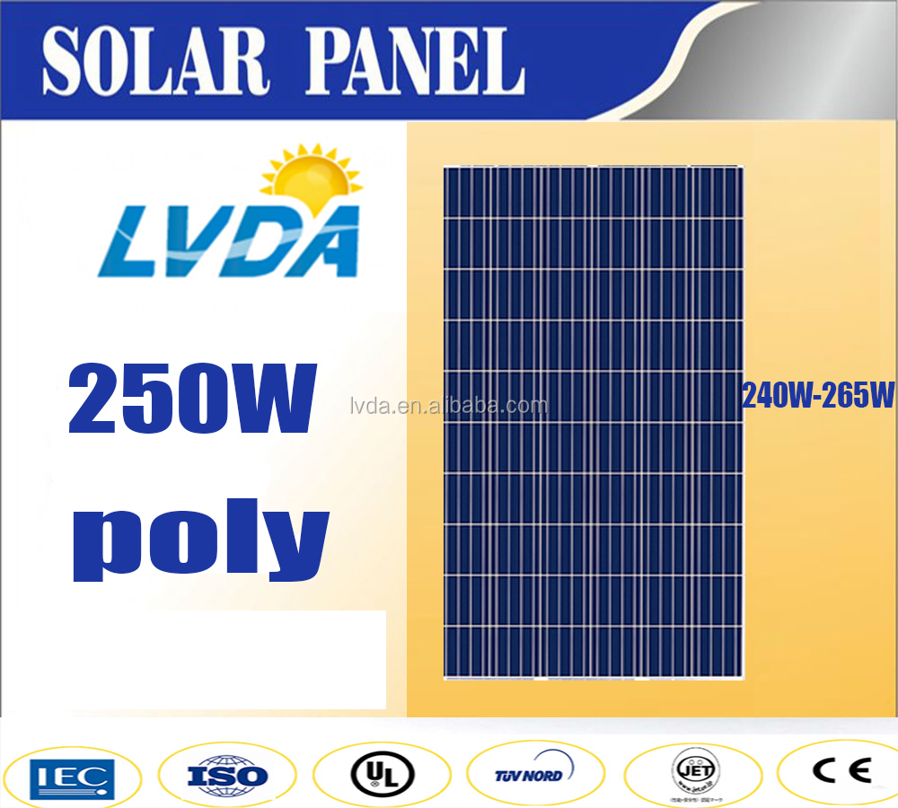 LVDA 250w poly solar panel blue color 1640*992*40mm in Japan market best quality