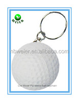 customized 4.2cm PU golf ball keyring/toy promotional gift PU foam golf ball keyring/kids toys soft PU golf ball keyring