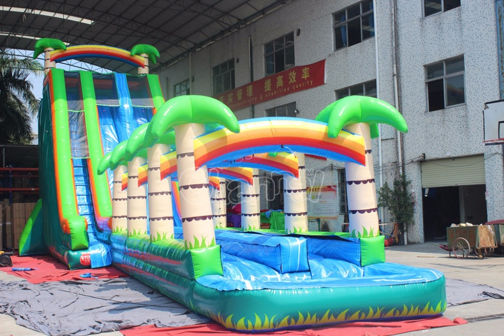 inflatable water slide n slip for kids and adults, giant palm tree inflatable water slide