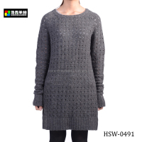 Ladies Knitted Pattern Long Sleeve Crochet Dress, Plain Grey Pattern Crochet Dress