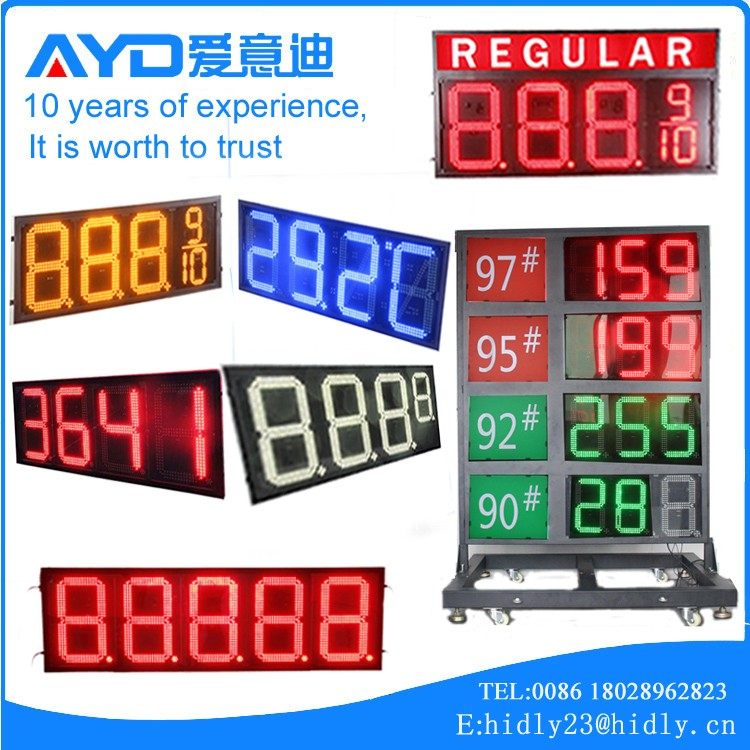 REGULAR green 4 Digit 7 Segment LED Display, Gas Station LED Price Sign, Digital LED Sign