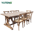 Antique solid oak wood furniture 8 seater wooden dining table